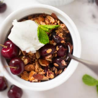 Fresh Cherry Crisp | This Fresh Cherry Crisp is a great way to enjoy the deliciousness and health benefits of sweet cherries while they're available in stores! | A Sweet Pea Chef