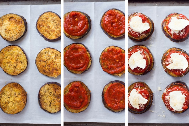 An overhead step-by-step image of assembling Baked Eggplant Parmesan on a baking sheet, before placing in the oven, by layering roasted eggplant, homemade tomato sauce, mozzarella and grated parmesan.