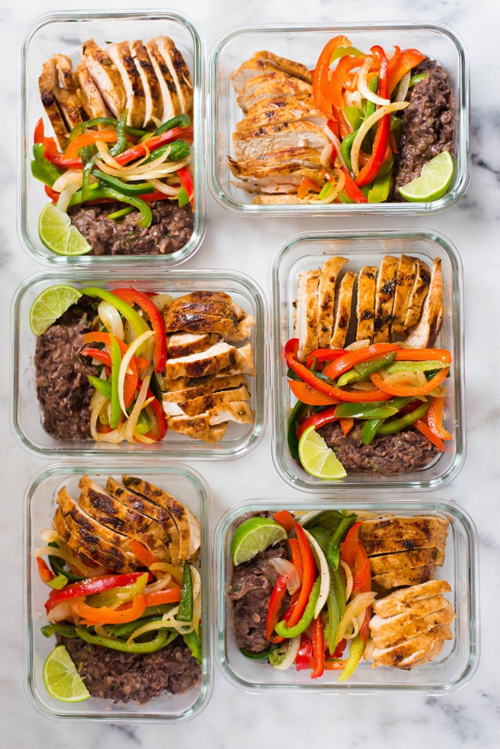 Healthy Chicken Fajitas Meal Prep (Just $3.37 Per Serving!) | This Healthy Chicken Fajitas Meal Prep includes healthy chicken fajitas with fresh fajita veggies and the most amazing spicy black beans.  This is a low carb, high protein, and high fiber meal prep you're gonna love. Bonus: this chicken meal prep is just 455 calories and is a great meal prep on a budget since each serving costs just $3.37! | A Sweet Pea Chef