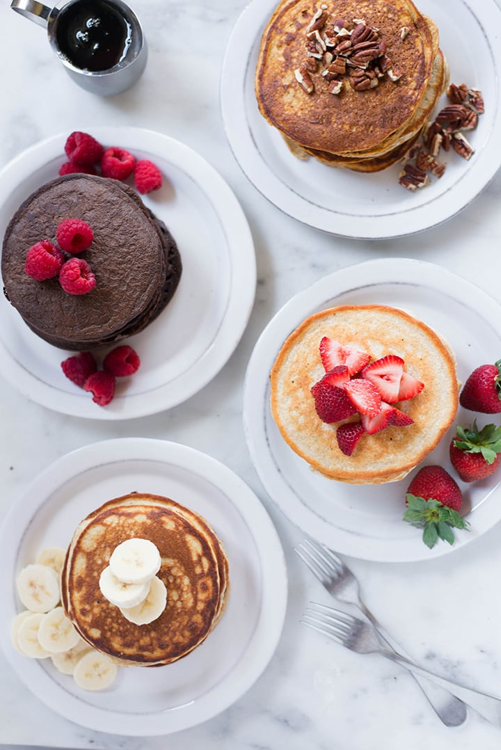 Protein Pancakes | Looking for healthy breakfast ideas? Learn how to make Protein Pancakes and discover 4 of my favorite Easy Protein Pancakes recipes. | A Sweet Pea Chef