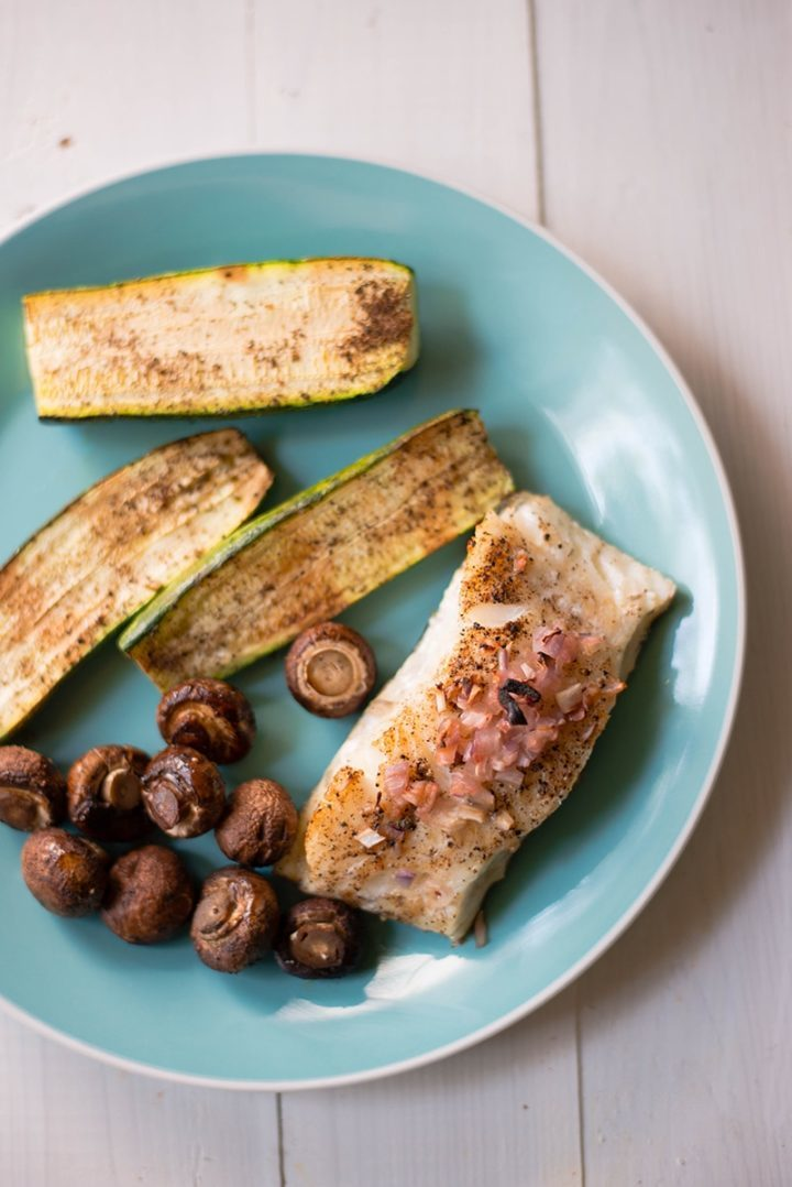 Baked Sea Bass & Zucchini Sheet Pan Meal | Easy, fast, healthy, and delicious | asweetpeachef.com
