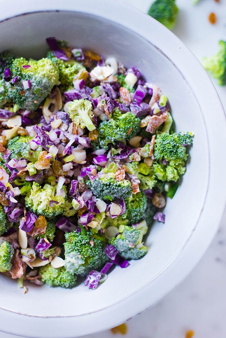 A close up of the Healthy Broccoli Salad with Greek Yogurt Dressing in a salad bowl.