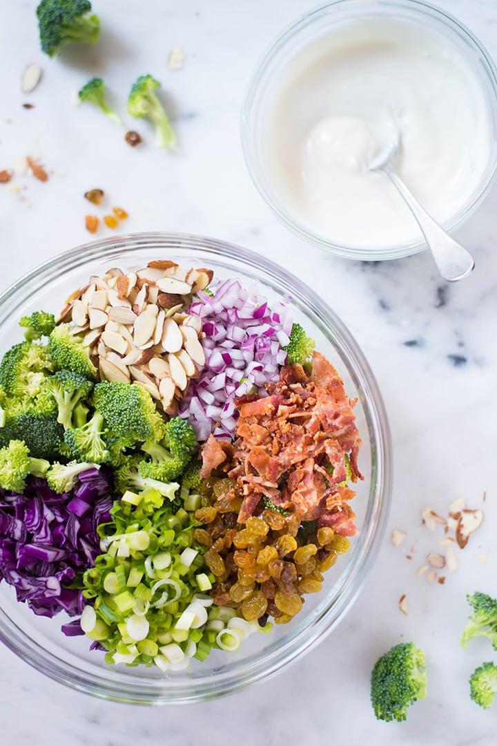 Healthy Broccoli Salad With Greek Yogurt Dressing A Sweet Pea Chef