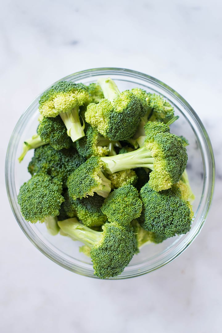 A close up of broccoli florets ready to be used in the Healthy Broccoli Salad with Greek Yogurt Dressing recipe.