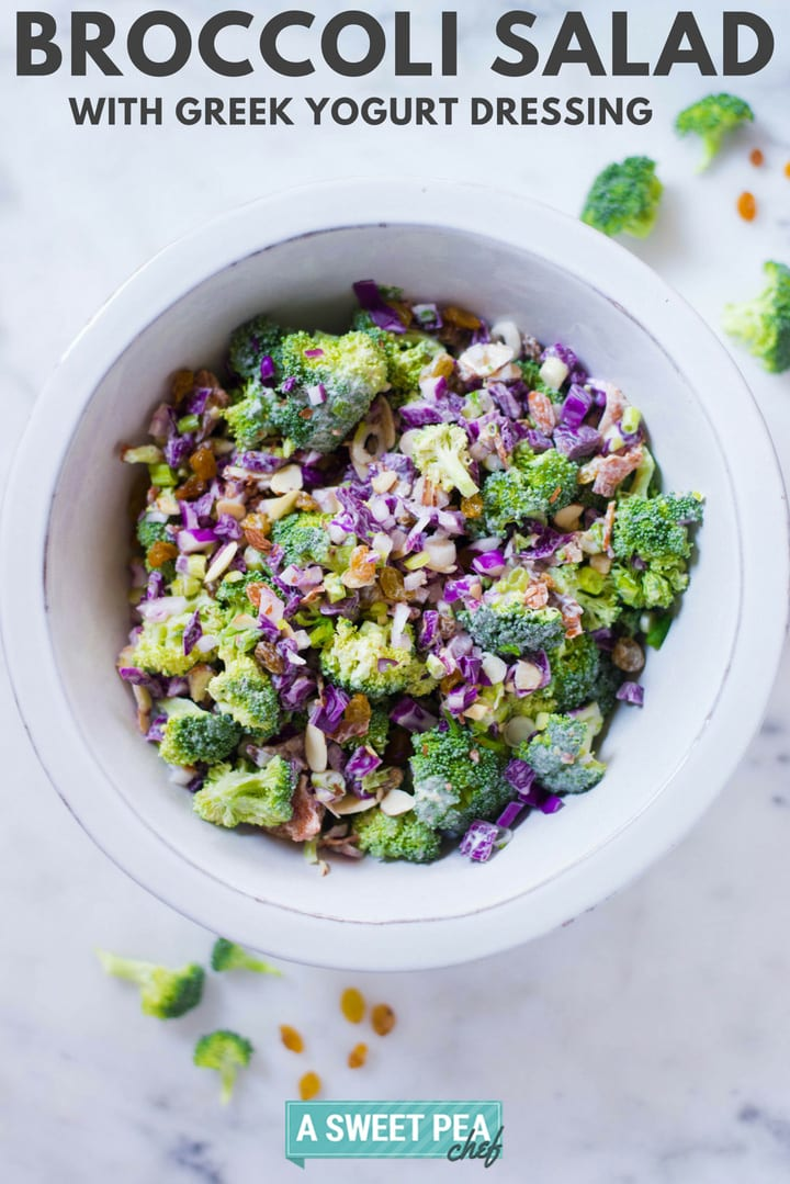 Healthy Broccoli Salad with Greek Yogurt Dressing | This Healthy Broccoli Salad with Greek Yogurt Dressing is a healthy and delicious side salad that makes an amazing side dish for holidays and BBQs | A Sweet Pea Chef