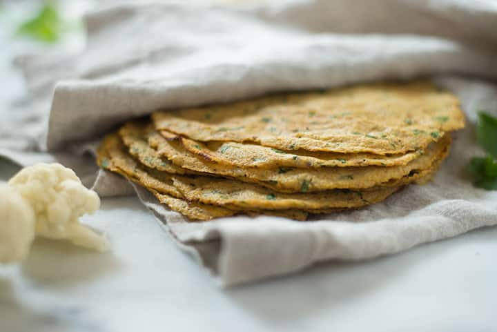 Cauliflower Tortillas | Learn how to make these low carb, high fiber Cauliflower Tortillas. These healthy tortillas are so awesome and the perfect grain-free tortilla substitute! | A Sweet Pea Chef