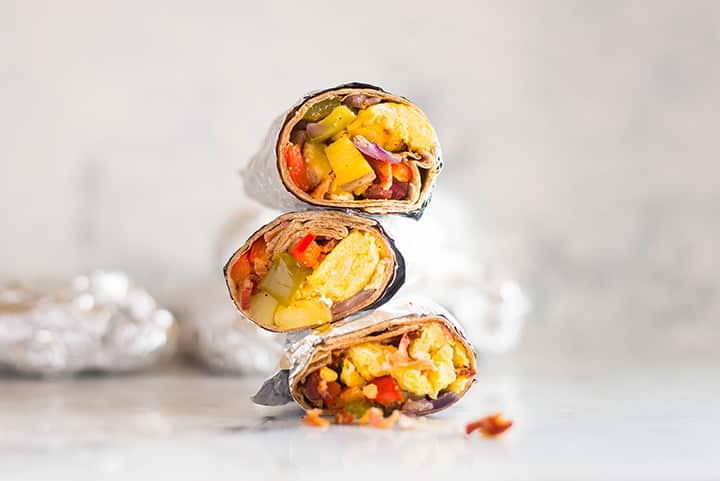 Make Ahead Frozen Breakfast Burritos | Looking for a healthy make ahead breakfast? I've got you covered with these healthy frozen breakfast burritos! Each burrito contains 13 grams protein, 5 grams of fiber, and is just 350 calories, making it a high protein, filling, and healthy make ahead breakfast option for your busy mornings! | A Sweet Pea Chef