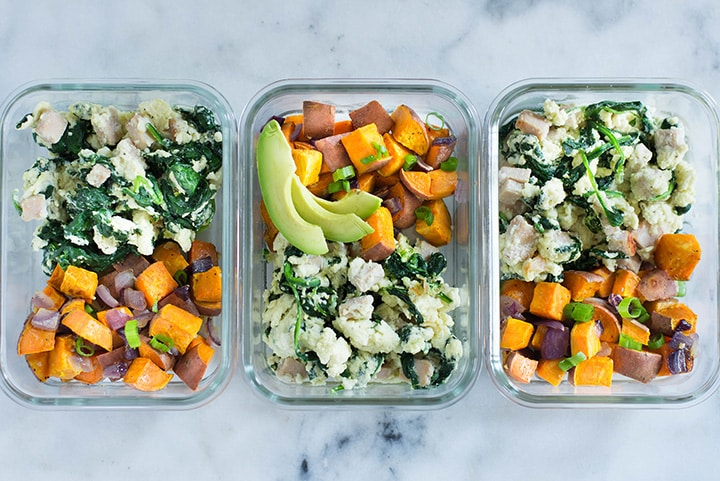 3 meal prep containers filled with healthy make ahead breakfast meals. 2 of the meal prep containers contain egg whites scramble and sweet potatoes and the 3rd one contains egg whites scramble, sweet potato hash, a a few avocado slices.