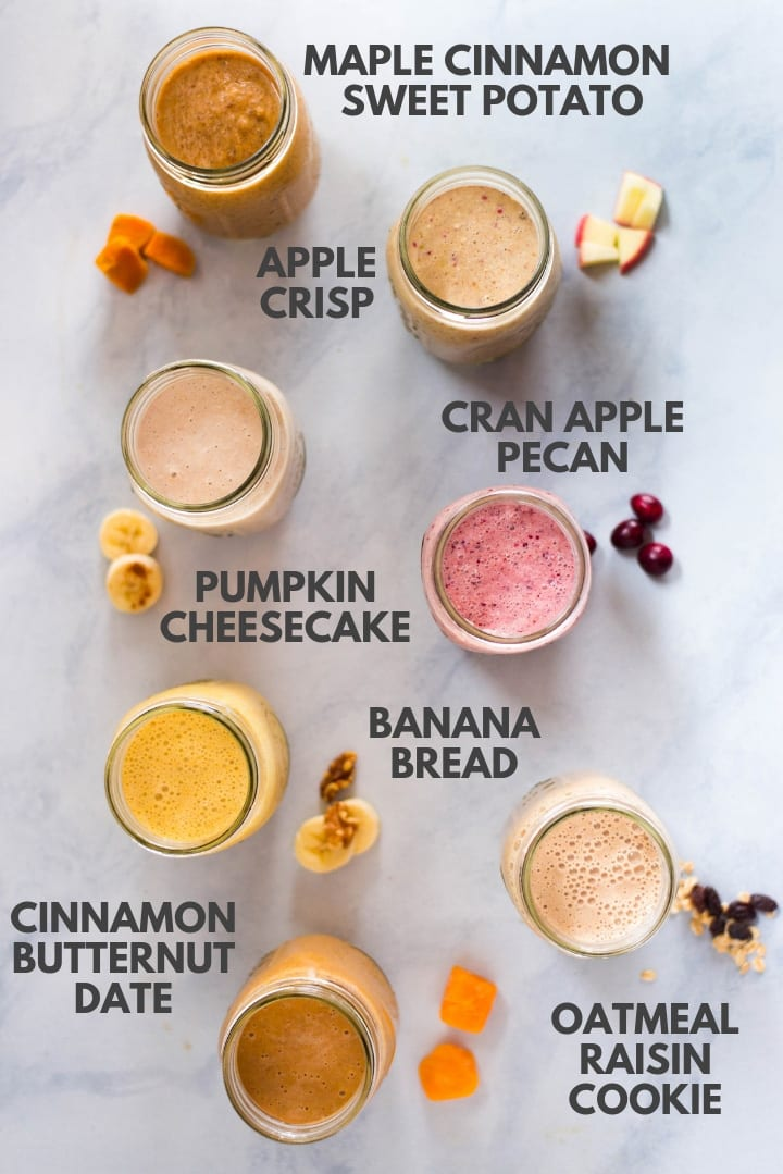 7 Easy Make Ahead Smoothies for Fall | Learn everything you need to know about make ahead smoothies, including how to freeze them for later, how to make healthy smoothies, and how long they last. Plus, enjoy these 7 easy make ahead smoothie recipes that are healthy, nutritious, and packed with Fall flavors. | A Sweet Pea Chef #makeaheadsmoothies #smoothies
