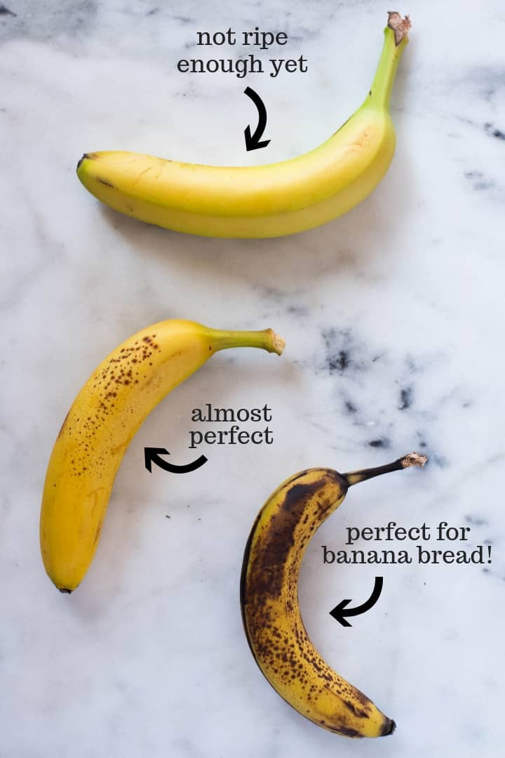 A pictures that exemplifies how ripe bananas should be for banana bread by showing 3 different bananas in different stages of ripening.
