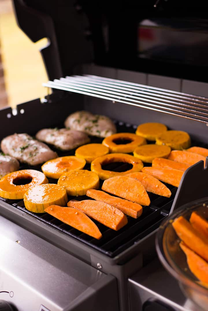 Chicken, butternut squash and sweet potatoes cooking on the Webber grill.