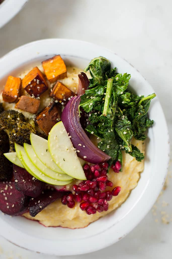 Healthy Harvest Buddha Bowl | Amazing Fall flavors in one healthy and nutritious meal in one bowl filled with veggies and fruits and drizzled with a delicious tahini sauce | A Sweet Pea Chef