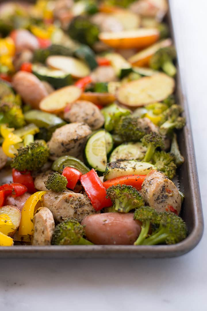 Closeup of the freshly roasted Sheet Pan Sausage and Veggies.