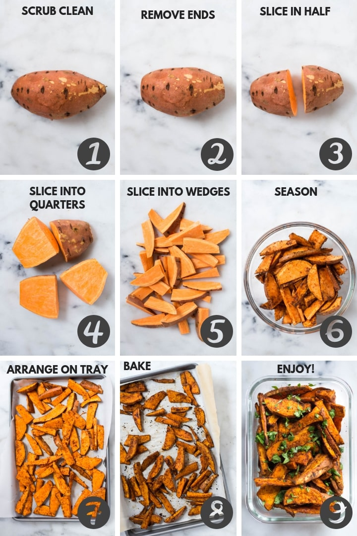 The step by step process for the Easy Sweet Potato Meal Prep that show how to make sweet potato fries.