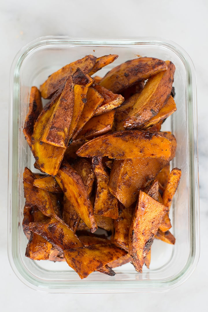 Meal prep container with cinnamon sugar sweet potato fries.