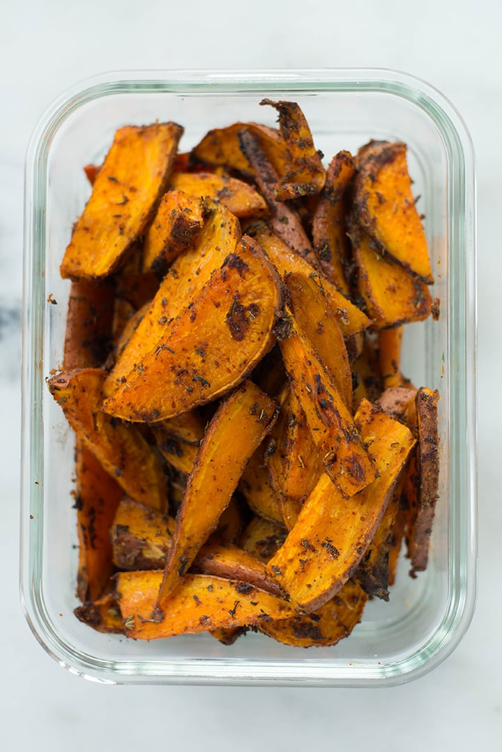 Meal prep container with Cajun sweet potato fries.