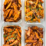 Easy Sweet Potato Meal Prep - Baked Sweet Potato Fries 4 Ways | Crispy, healthy, and delicious sweet potato fries that are great for meal prep | A Sweet Pea Chef