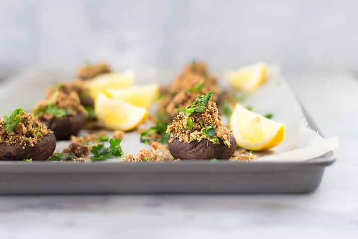Garlic Stuffed Mushrooms recipe and images by Lacey Baier, a sweet pea chef