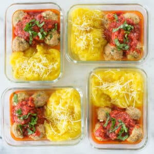 Ground Turkey Meal Prep: Turkey Meatballs with Spaghetti Squash Noodles