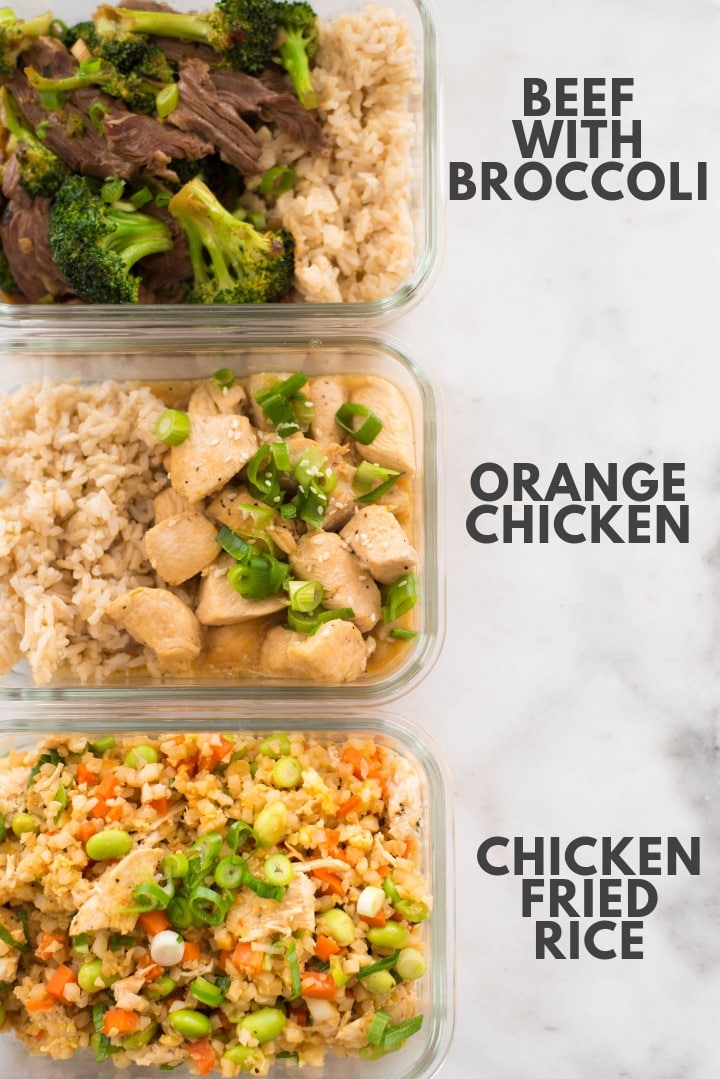 The 3 copycat restaurant recipes including Beef ith Broccoli, Orange Chicken, and Chicken Cauliflower Fried rice in meal prep containers.
