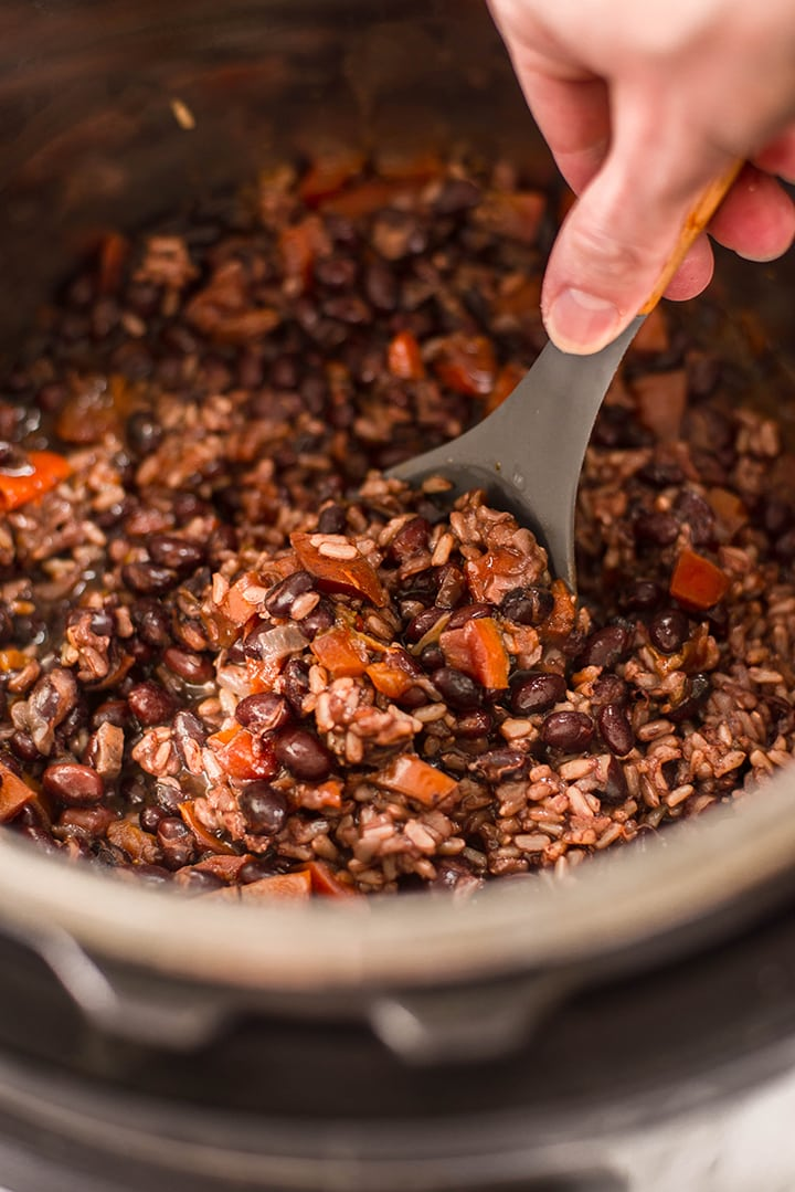 Closeup of black beans and rice instant pot.
