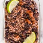 Black beans with rice in a meal prep container.