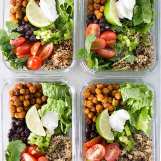Vegetarian Meal Prep Recipe | Vegetarian Taco Bowls recipe and tips for making meatless meals healthy and delicious | A Sweet Pea Chef