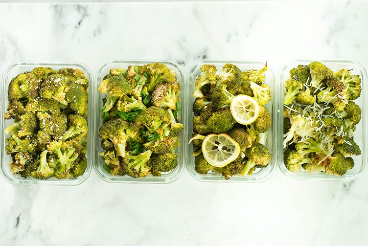 Broccoli meal prep with 4 different flavors in meal prep containers, ready to be stored in the fridge.