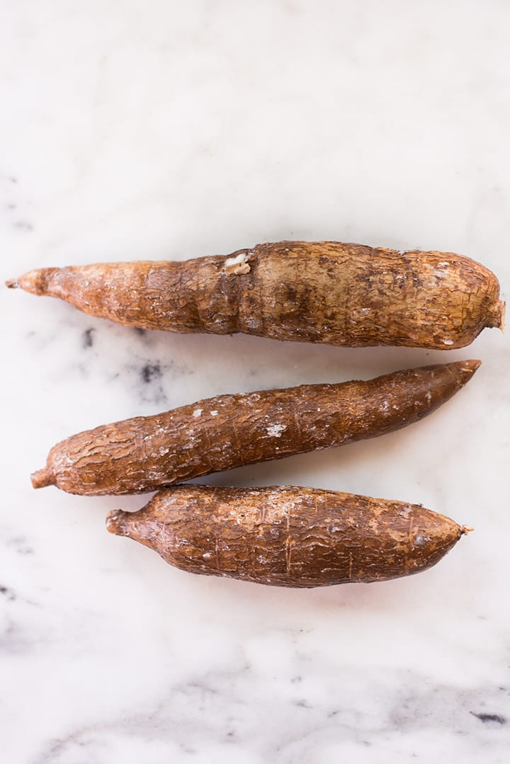 Top view of 3 cassava - the root veggie that makes cassava flour, a healthy substitute for white flour.
