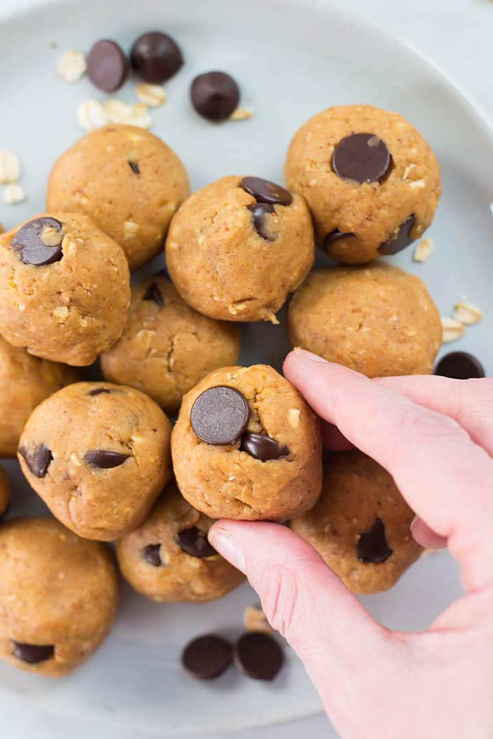 Chocolate Chip Peanut Butter Cookie Dough Bites | How to make edible cookie dough and then turn in into cookie dough bites in just 5 minutes | A Sweet Pea Chef