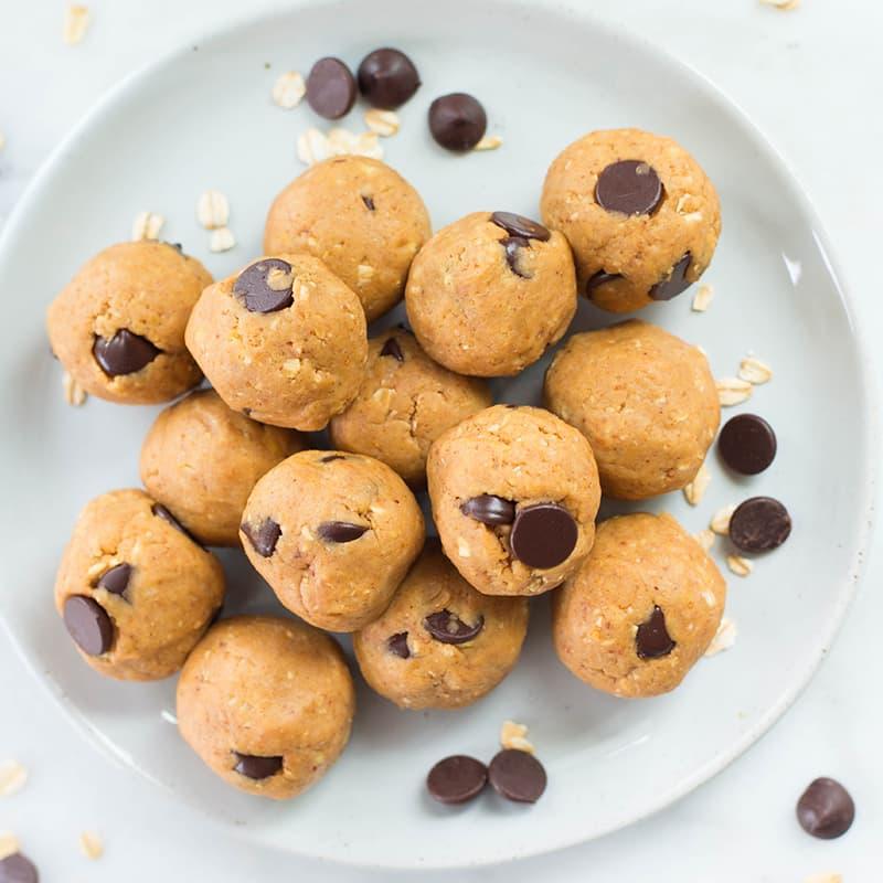 Chocolate Chip Peanut Butter Edible Cookie Dough Bites | Vegan, Clean, Dairy-Free & GF