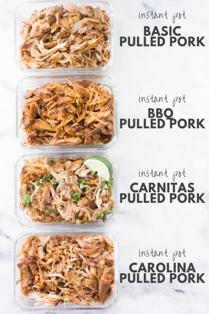 Overhead view of 4 glass meal prep containers of pulled pork 4 ways, including Carolina, Carnitas, Basic, and BBQ.
