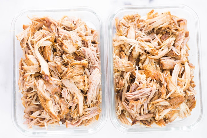Plain Instant Pot Pulled Pork in meal prep containers.