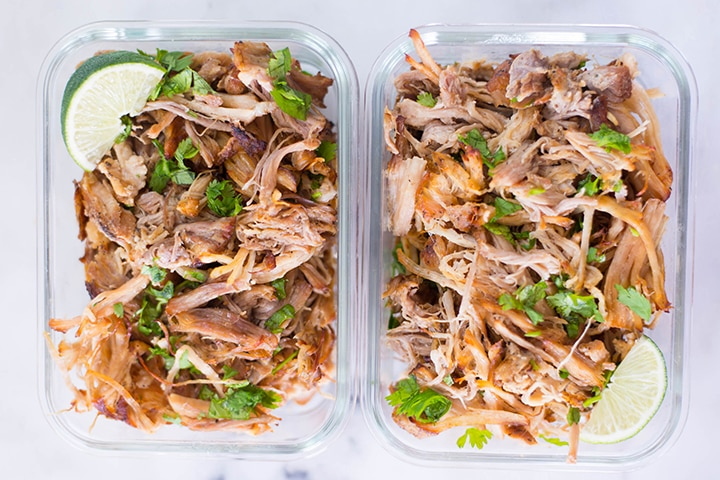 Carnitas Pulled Pork in meal prep containers.
