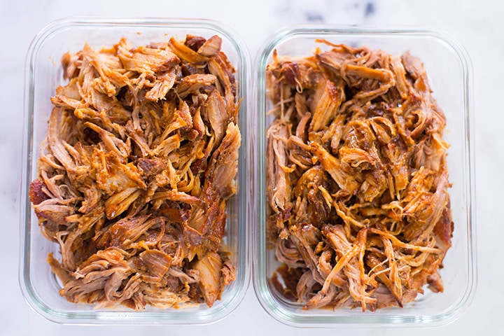 Carolina Pulled Pork in meal prep containers.