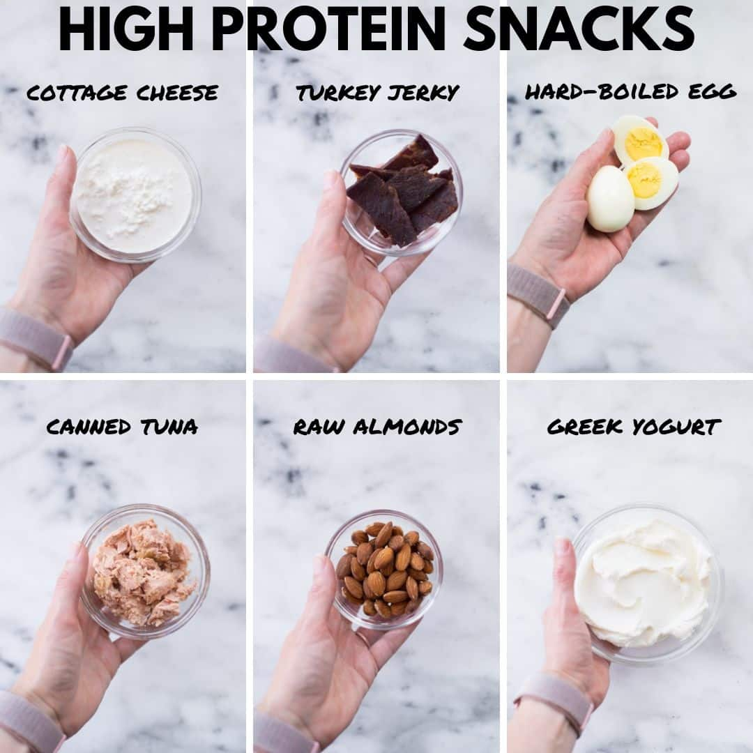 Healthy protein snack options.