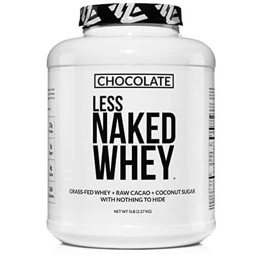 Close up image of a bottle of Naked Whey Protein Powder, with a white label.