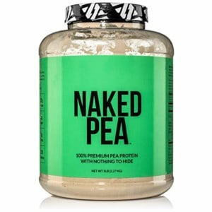 Close up image of a full bottle of pea protein, with a green label stating Naked Pea.