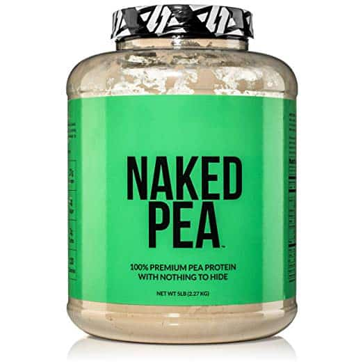 Close up image of a bottle of protein powder, Naked Pea with a green label.