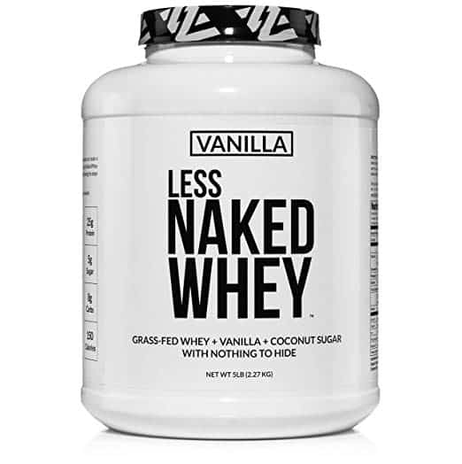 Straight on view of a large white bottle of whey protein, ready to add to a smoothie as a nutritious source of protein for muscle building.
