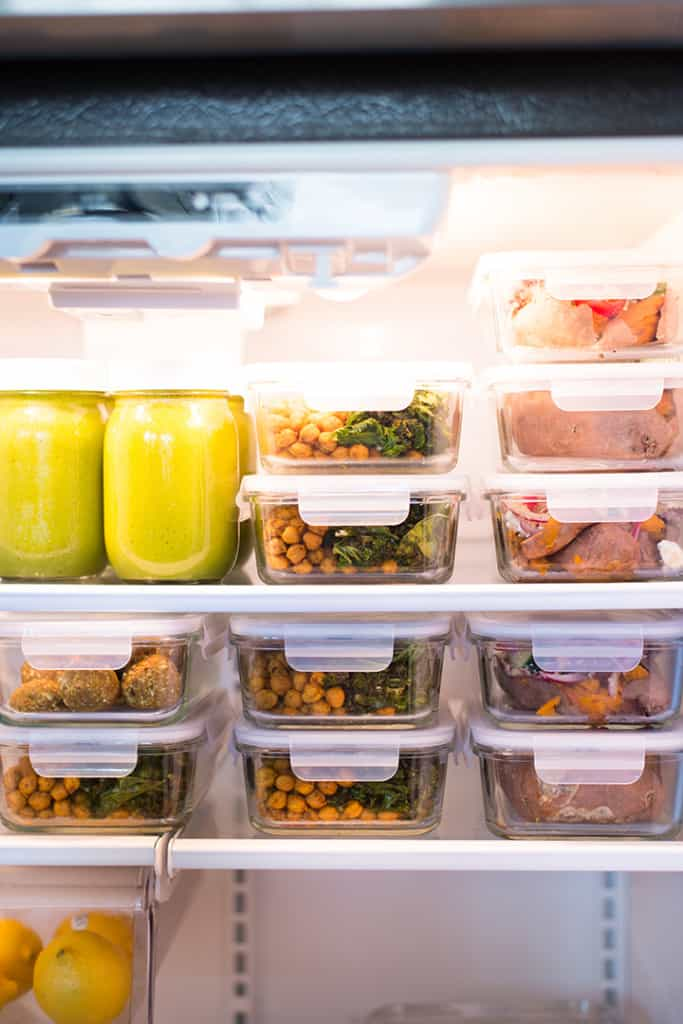 View of fridge filled with meal prepped meals that are optimized for reducing inflammation.