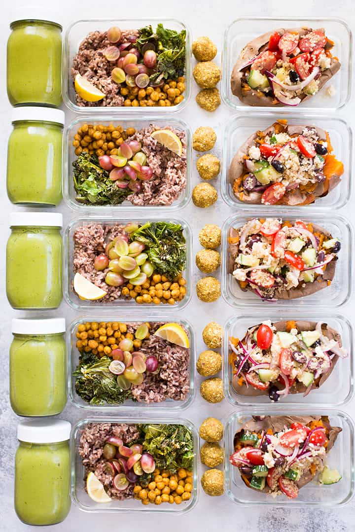 Overhead view of all the recipes included in this 5 day meal plan for anti-inflammation, including lemon ginger energy balls, matcha chia smoothie, turmeric chickpea buddha bowl, and greek stuffed baked sweet potatoes..