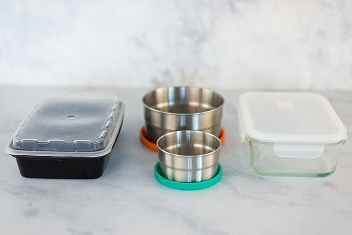Three types of meal prep containers: steel, plastic, and glass, as a comparison for best types of meal prep containers.