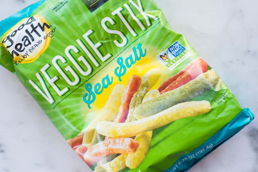 Overhead view of a fake healthy food, veggie stix.