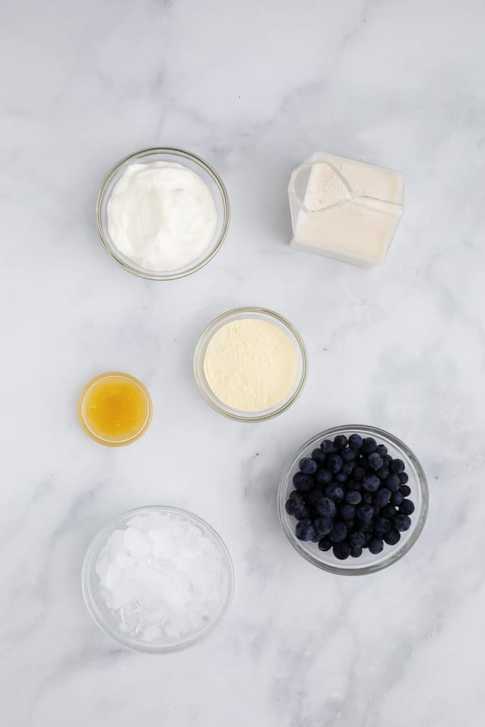 Overhead image of the ingredients for the Blueberries Protein Shake including crushed ice, vanilla protein powder, raw honey, and blueberries.